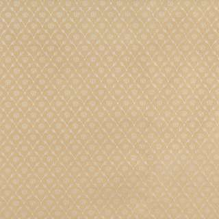 B644 Gold/ Floral Trellis Woven Jacquard Upholstery Fabric