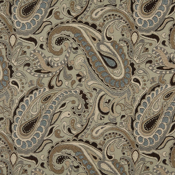 A0110A Brown Blue Tan Paisley Woven Indoor Outdoor Upholstery Fabric