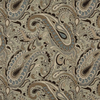 A0110A Brown Blue Tan Paisley Woven Indoor Outdoor Upholstery Fabric (2 options available)
