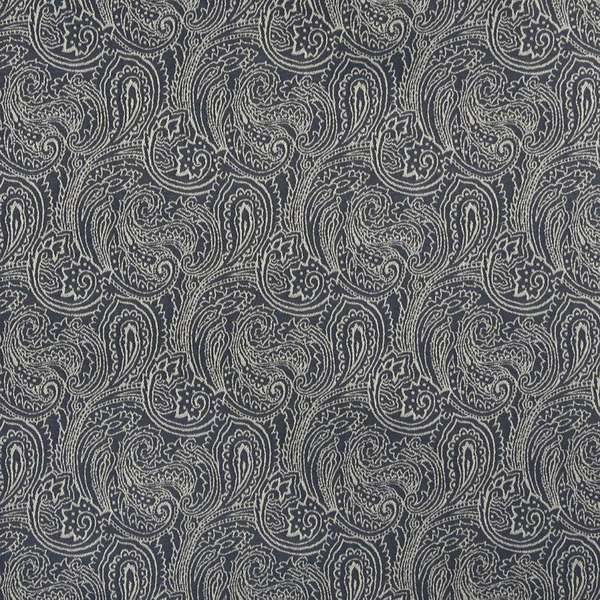 Shop B627 Navy Blue Paisley Woven Jacquard Upholstery Fabric Free