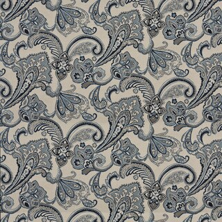 A0123A Blue Beige Floral Foliage Woven Outdoor Upholstery Fabric