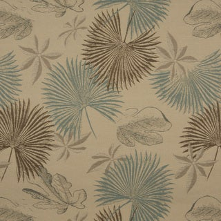 A0127A Tan Brown Teal Floral Leaves Woven Outdoor Upholstery Fabric