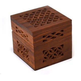 Small Cutwork Wood Box (India)