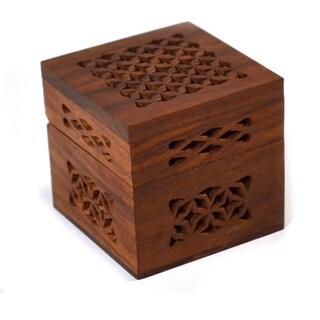 Handmade Small Cutwork Wood Box (India)