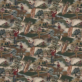 A004 Close-up Golfers Golf Course Tapestry Upholstery Fabric
