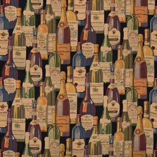 French And Italian Wine Bottles Themed Tapestry Upholstery Fabric