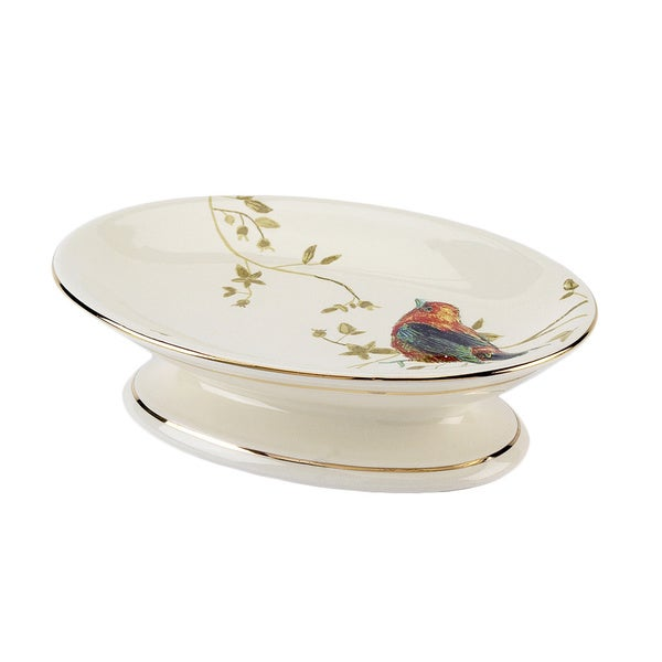 Gilded Birds Multi-colored Ceramic Soap Dish