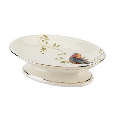 Gilded Birds Multi-colored Ceramic Soap Dish - Off-White/Multi
