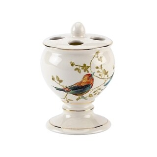 Gilded Birds Multi-colored Ceramic Toothbrush Holder