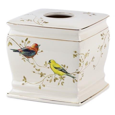 Gilded Birds Multi-colored Ceramic Tissue Cover