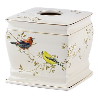 Gilded Birds Multi-colored Ceramic Tissue Cover