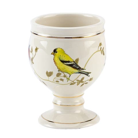 Gilded Birds Multi-colored Ceramic Tumbler - Off-White/Multi