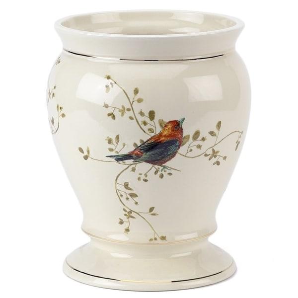 Gilded Birds Off-white Ceramic Wastebasket