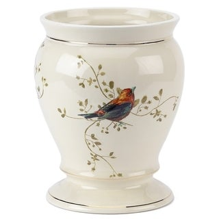 Gilded Birds Off-white Ceramic Wastebasket