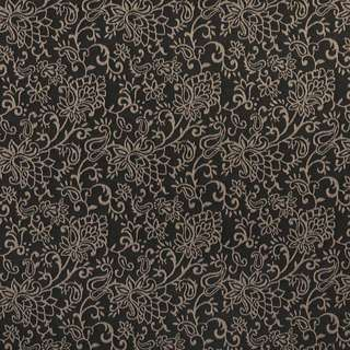 B606 Black/ Floral Contemporary Woven Jacquard Upholstery Fabric