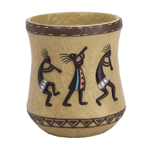 Kokopelli Multi/ Brown Resin Wastebasket