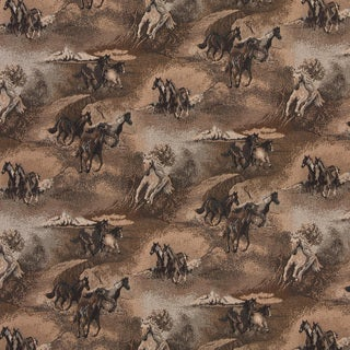 A021 Beige Wild Horses Galloping Themed Tapestry Upholstery Fabric
