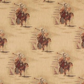 A022 Rodeo Cowboys and Horses Themed Tapestry Upholstery Fabric