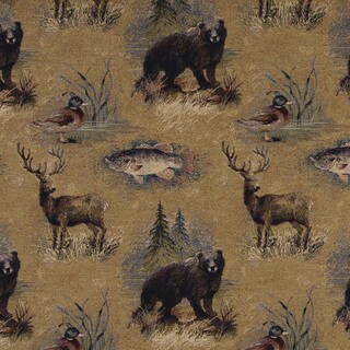 A027 Rustic Bears Fish Ducks Deer Trees Tapestry Upholstery Fabric (2 options available)