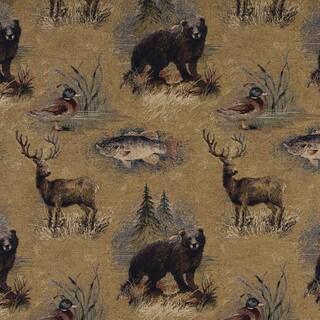 A027 Rustic Bears Fish Ducks Deer Trees Tapestry Upholstery Fabric