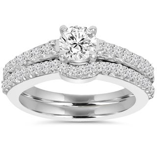 14k White Gold 1ct TDW Diamond Engagement Matching Wedding Ring Set