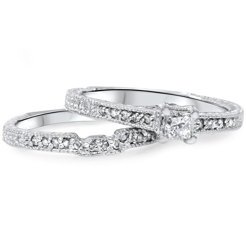 14k white gold 7 10 ct tdw diamond vintage princess cut. Black Bedroom Furniture Sets. Home Design Ideas