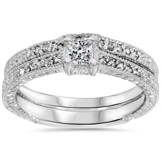 14k White Gold 7/10 ct TDW Diamond Vintage Princess Cut Engagement Wedding Ring Set