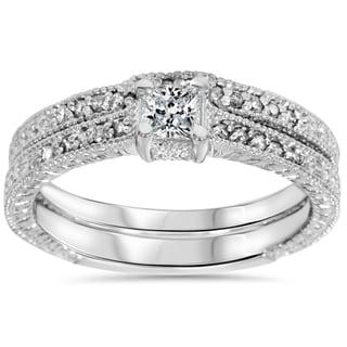 14k White Gold 7/10 ct TDW Diamond Vintage Princess Cut Engagement Wedding Ring Set