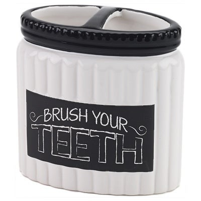 Chalk It Up White/ Black Ceramic Toothbrush Holder