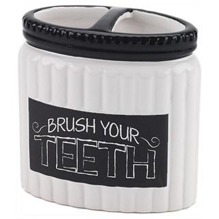 Chalk It Up White/ Black Ceramic Toothbrush Holder