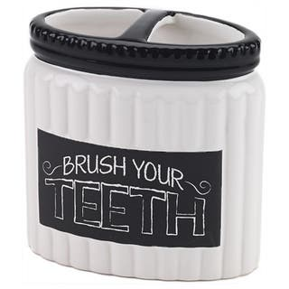 Chalk It Up White/ Black Ceramic Toothbrush Holder|https://ak1.ostkcdn.com/images/products/10288455/P17402836.jpg?impolicy=medium