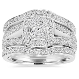 10k White Gold 1 1/10 ct TDW Diamond Trio Guard Engagement Wedding Ring Set (I-J, I2-I3)