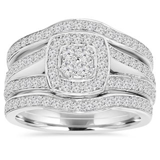 10k White Gold 1 1/10 ct TDW Diamond Trio Guard Engagement Wedding Ring Set