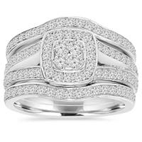 10k White Gold 1 1/10 ct TDW Diamond Trio Guard Engagement Wedding Ring Set