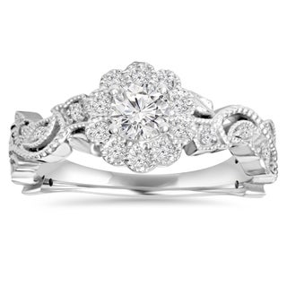 14k white gold 1 2 ct tdw diamond vintage pedal engagement wedding ring - Wedding Rings Vintage