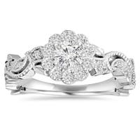 14k White Gold 1/ 2 ct TDW Diamond Vintage Pedal Engagement Wedding Ring