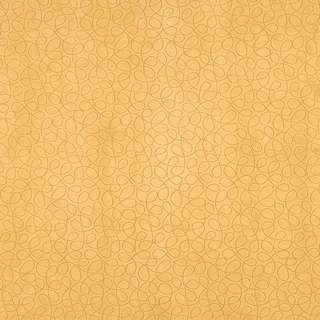 B356 Yellow Abstract Curls Microfiber Upholstery Fabric