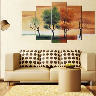 Design Art 'Four Seasons Nature Tree Painting' 60x32-inche 5-piece Art Set