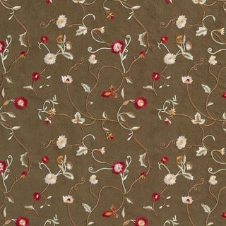 B146 Green Ivory Red Beige Embroidered Floral Vines Suede Upholstery Fabric
