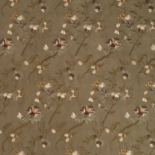 Dark Green/ Ivory/ Orange and Brown Floral Suede Upholstery Fabric