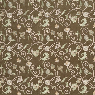 B106 Green Ivory Embroidered Floral Vines Suede Upholstery Fabric
