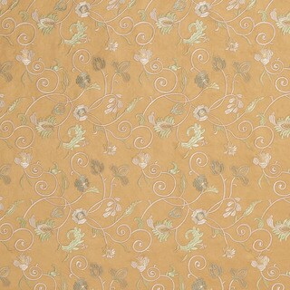 Gold/ Ivory and Green Suede Stitched Vines Suede Upholstery Fabric