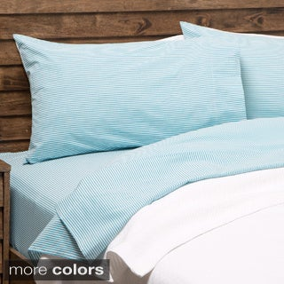 Oxford Stripe 100-percent Cotton Yarn Dyed Standard Pillowcase Set (Set of 2)