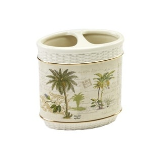Colony Palm Multi-colored Ceramic Toothbrush Holder