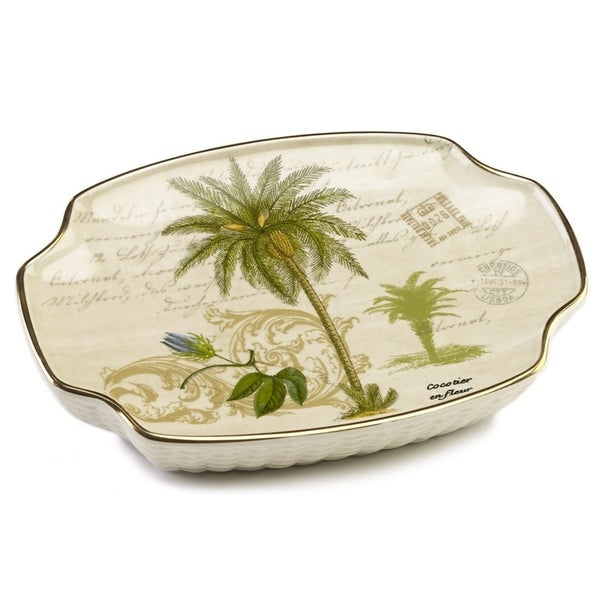 Colony Palm Multi-colored Ceramic Soap Dish