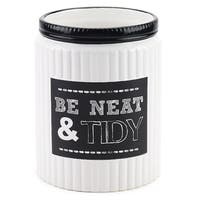 Chalk It Up White/ Black Ceramic Wastebasket