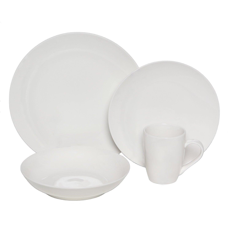 Melange Coupe White Porcelain 16-piece Dinnerware Set (wh...