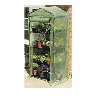 Happy Planter 4-tier Mini Portable 4-shelf Greenhouse with Cover