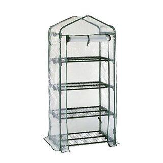 Happy Planter 4-tier Mini Portable 4-shelf Greenhouse with PVC Cover