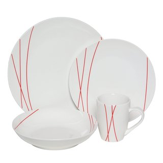 Melange Red Lines Coupe Porcelain 16-piece Place Setting (Serves 4)
